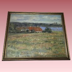 Old Lake House Landscape Oil Painting Signed and Dated 1933