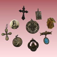Lot of 9 Vintage Religious Pins and Pendants