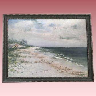 Lovely Old Beach Ocean Oil Painting Signed 1923