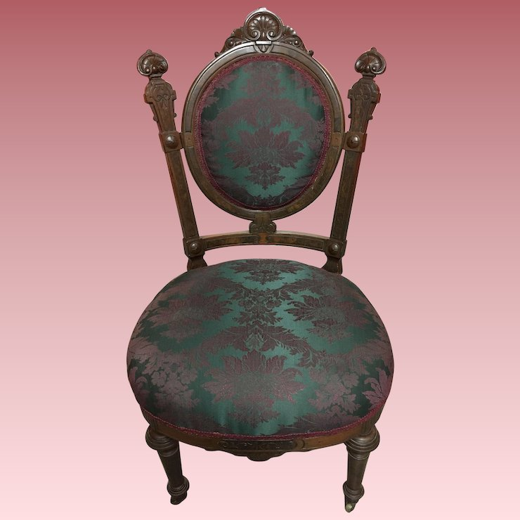 Elegant Antique Victorian Carved Walnut Ladies Chair - Elegant Antique Victorian Carved Walnut Ladies Chair : In Love With