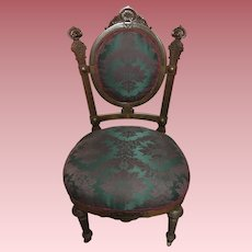 Elegant Antique Victorian Carved Walnut Ladies Chair