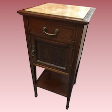 Antique French Inlaid Wood Marble Top Night Stand With Humidor From Le Grand Hotel Paris