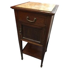 Antique French Night Stand With Humidor Marble Top