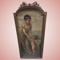 Exquisite Harriet Babb 1892 Antique Oil Painting Woman and Cherub