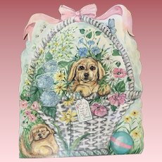 1960's Dogs in a Basket Floral Painting