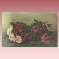 Beautiful Antique Roses Oil Painting With Bees Signed 1913