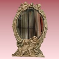 Antique Metal Cherubs Mirror With Easel Back