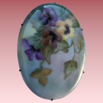 Vintage French Limoges Porcelain Pin Brooch Pansies
