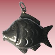 Vintage Sterling Silver Large Puffy Fish Pendant Charm