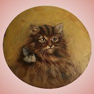 Antique Kitten Cat Oil Painting With Blue Bow