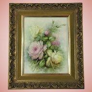 Vintage Sonie Ames Roses Original Painting on Large Porcelain Plaque