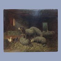 Fine Antique Sheep Oil Painting Johanna Grell 1850-1934