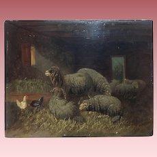 Fine Antique Sheep Oil Painting Johanna Grell 1850-1934
