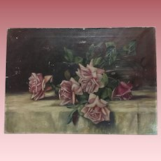 Pretty Antique Pink Roses Oil Painting