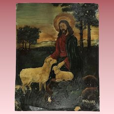 Old Religious Oil Painting With Sheep and Lamb