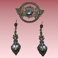 Vintage Sterling Silver Marcasite and Blue Topaz Pin and Earrings Set