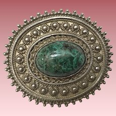 Vintage Sterling Silver Pin Brooch With Green Stone