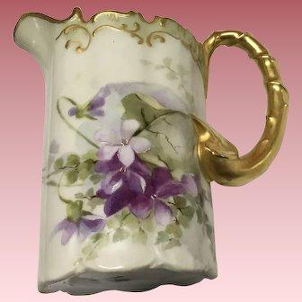 Beautiful Antique Rosenthal Pitcher Violets Ornate