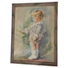 Vintage Watercolor Painting of a Child