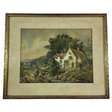 Fine Antique Watercolor Cottage Painting Signed Ertle 1902