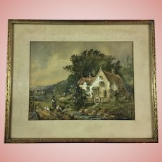 Fine Antique Watercolor Cottage Painting Signed Ertle 1902