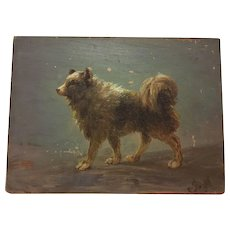 French Antique Dog Oil Painting, Jacques Macle