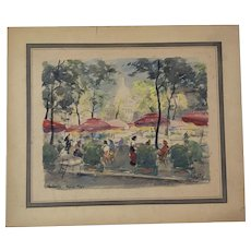 Vintage French Watercolor Painting Montinartre: Place du Tertre