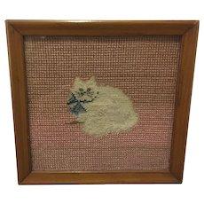 Old Kitty Cat Needlepoint Framed