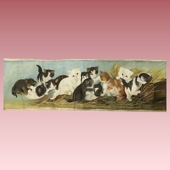 Naive Old Oil Painting of Kittens Playing Yard Long