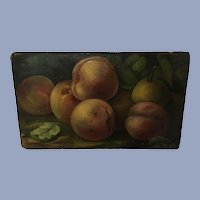 Antique Fruit Still Life Oil Paintings, 2 Sided Peaches and Pears