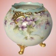 Antique Vienna Austria Footed Bowl Violets