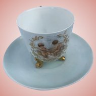 Antique French Demitasse Cup and Saucer Cherubs