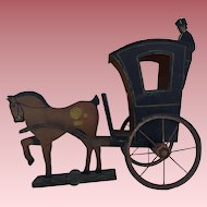 Antique Wood Toy Horse and Buggy Carriage