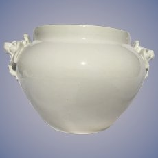 Huge Antique French Limoges Jardiniere With Lion Handles White Blank