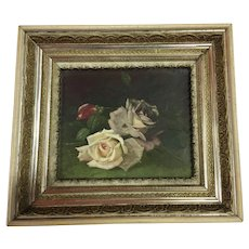 Gorgeous Antique Roses Oil Painting on Canvas Lovely Frame