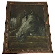 Antique Horse Oil Painting on Canvas Large