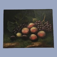 Antique 19TH Century Still Life Oil Painting Grapes, Peaches, Plums Fruit