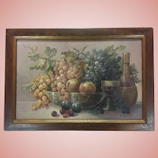 Antique Fruit Still Life Oil Painting, Signed
