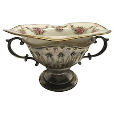 Lenox Belleek Compote Bowl in Sterling Silver Holder Antique