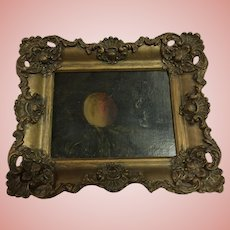 Vintage Still Life Oil Painting of a Peach