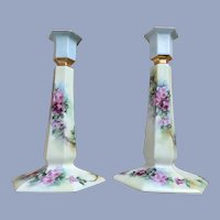 """Pair 9"""" Limoges Candlesticks Gorgeous Roses"""