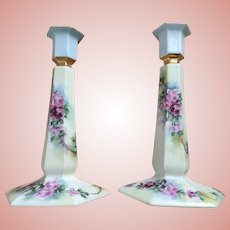 "Pair 9"" Limoges Candlesticks Gorgeous Roses"