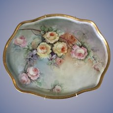 Beautiful French Limoges Tray Antique Roses Large