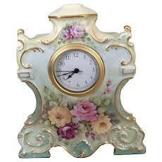 Lovely Antique Austrian Clock With Roses