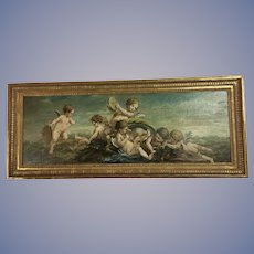 Magnificent Antique Cherub Putti Oil Painting 38 by 16""