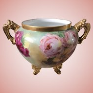 Gorgeous Antique Limoges Jardiniere Large With Handles, Feet