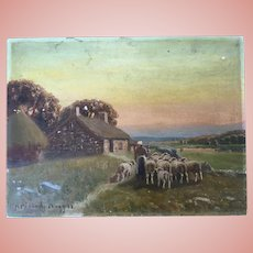 Sheep Oil Painting Hiram Peabody Flagg 1936