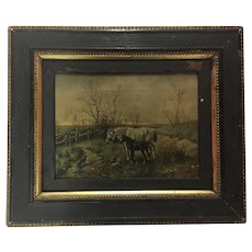 Antique Horses and Rabbit Oil Painting Signed 1904