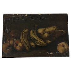 Antique Still Life Oil Painting Bananas Peaches