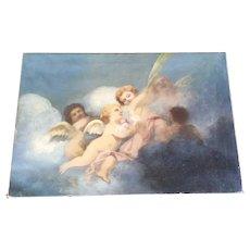 Gorgeous Antique Cherubs Oil Painting